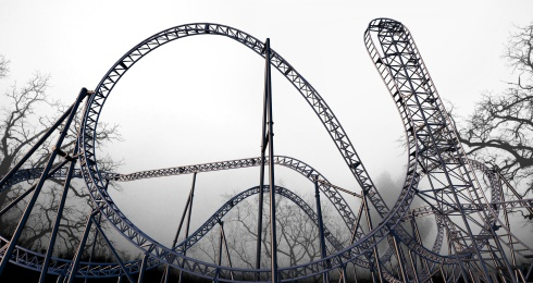 Adventure World_Abyss_Roller Coaster with backdrop